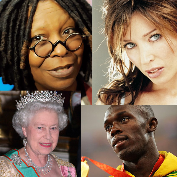 Whoopi Goldberg, Kylie Minogue, Queen Elizabeth, Usain Bolt