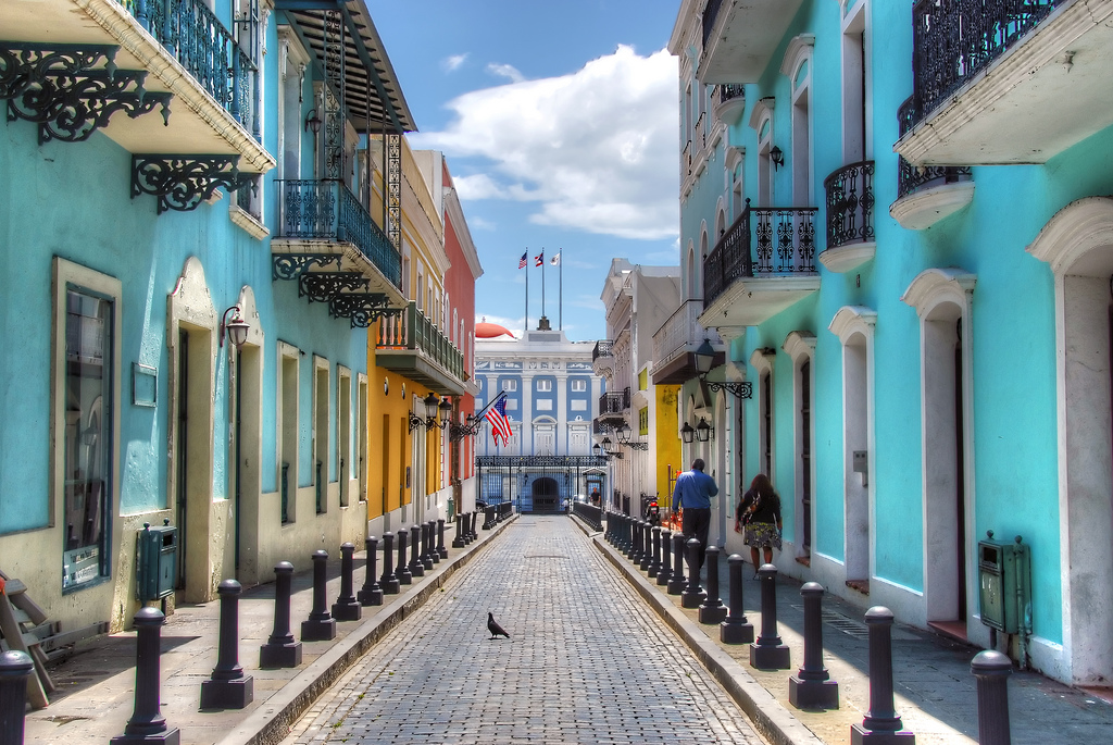 A colorful street in Puerto Rico