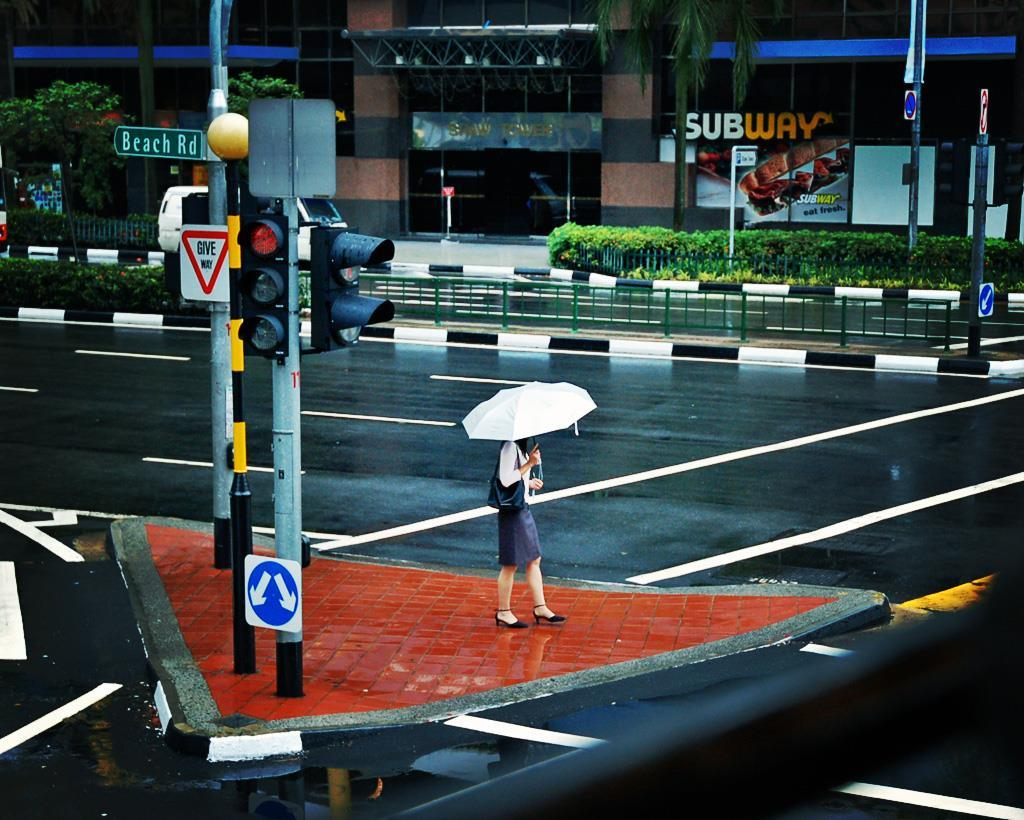 Girl alone on a rainy street
