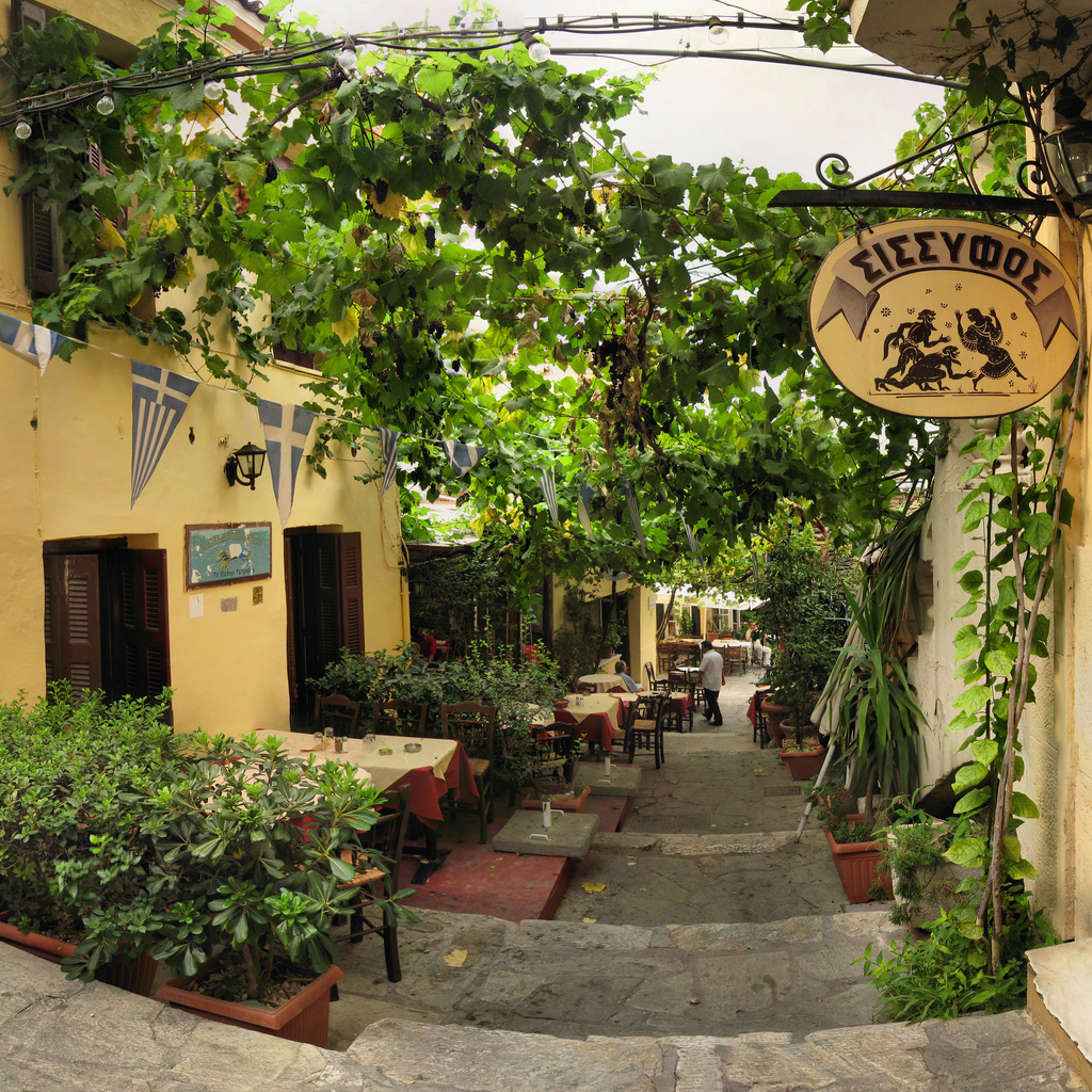 A vine covered street in Athens